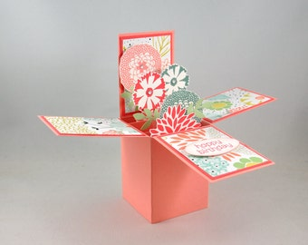 Birthday Greeting Card, Happy Birthday, For Her, Card-in-a-box, Box Card, Coral, Pink, Blue, Green, Flowers, Leaves, Spring, Blank