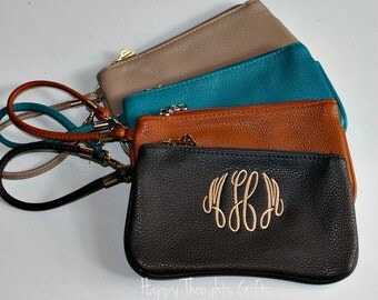 Monogrammed Wristlet - Monogrammed Bag - Small Zipper Bag - Personalized Bag - Personalized Gift