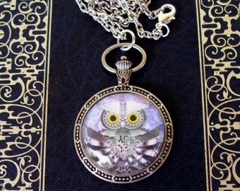 Steampunk Owl Pendant (N603) - Graphic Under Glass - Faux Pocket Watch Frame - Silver Chain