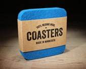 100% Merino Wool Square Felt Coasters - 5mm Thick German-milled Felt - Rich Lightfast Colors - Natural and Renewable - Blue