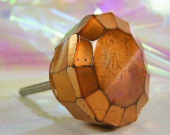 Knob Pull Glass Round / Copper Metallic Color / Furniture Hardware / Unique / Rustic