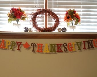 Happy Thanksgiving Banner 4 inches  with Autumn Maple Leaves