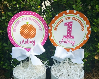 Personalized Pumpkin Centerpiece Topper Cake Topper Printable - ANY Wording - Pink and Orange My Little Pumpkin Collection