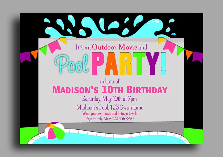 photograph about Free Printable Pool Party Birthday Invitations identified as Garden Pool Bash Invites: Totally free Printable Pool Celebration