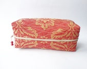 Men Toiletry Bag, Groomsman Shaving Case, Men Cosmetics Organizer, Red Tapestry Box Bag with Gold Ornaments