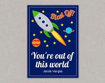 Outer Space Valentine Card, Classroom Valentines, Classroom Valentine's Day Card, Kids Valentine Cards, Kids Valentines