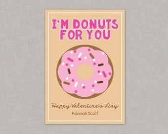 Donut Valentine Card, Classroom Valentines, Classroom Valentine's Day Card