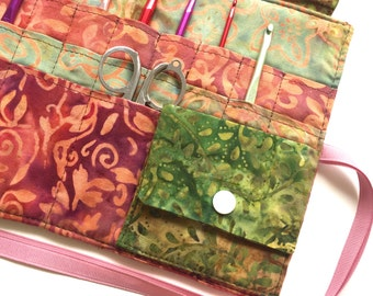 Crochet Needle Case/Roll/Organizer in 100% Batik Cotton