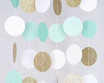 Mint, White and Gold Glitter Paper Circle Garland, Photo Prop, Party Decoration, Event Decor