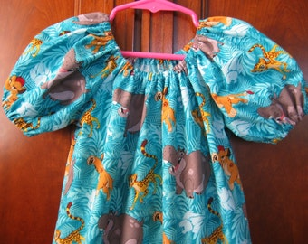 Girls Summer Dress - Aqua Blue, Gray, Brown - Lion Hippo Frends, Lion Guard Friends - Size 6M to Size 14