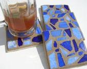 Blue Glass Mosaic Coasters  Beach Glass Coaster  Coastal Living  Beach Decor  Hostess Gift  Beach House Blue Decor Coastal Decor Unisex Gift