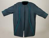 Plus size coat, wool coat, blue green coat, super size coat, unique coat, handmade coat, crochet details coat, raglan coat