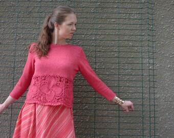Coral pink  sweater, knitted sweater, crochet motifs sweater, melange yarn sweater, unique sweater, original sweater