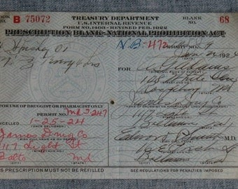 Vintage Prohibition Whiskey Prescription Pharmacy Medical Alcohol Rx for O. G. Adams  Baltimore MD 1/24/1924 Speakeasy Bar Rare