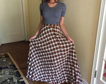 1960s Pleated Maxi Skirt Small XS / Vintage Brown Plaid Accordian Skirt Very Long