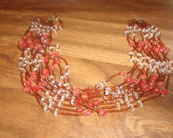 vintage necklace multi strand red swirl white glass