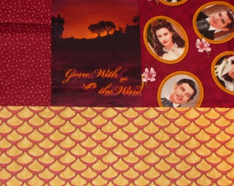 Gone with the Wind Fabrics, Scarlett and Rhett, 4 Fabrics, Realistic Photos, Janet Leigh, Clark Gable, Cotton fabrics