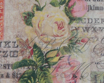 Wallflower Fabric, Roses and Letters, Romantic Fabric,  Coats and Clark Eclectic Elements by Tim Holtz, By the Yard