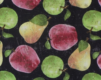 Apples and Pears, Fruit Fabric, Vintage Style, Wilmington Fabric, By the Yard, Cotton Fabric