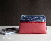 MinnePouch by MinneBites / Handmade Wristlet Purse - Red Zipper Pouch - Blue Feathers Fabric Wrist Purse - iPhone 6 Purse - Ready to Ship