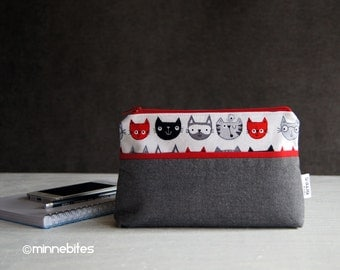 MinnePouch by MinneBites / Small Handmade Purse - Cat Wristlet Wallet - Gray Red Phone Purse - Travel Kit - Makeup Case - Ready to Ship