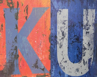 8 X 10 KU distressed letters