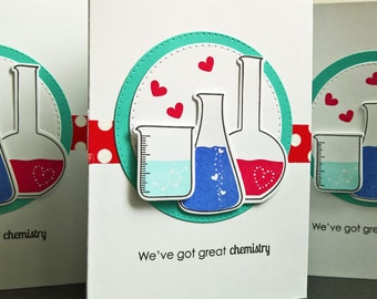 Anniversary Card,  Geeky I Love You Card, Geek Card, Science Beaker, Valentine Card for Boyfriend, Gift for Husband