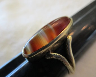 antique 14K ring with banded agate cabochon - carnelian, victorian, size 8.5