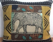 Inspirational - Elephant - Mudcloth - Bali Africa - One of a Kind Pillow