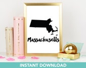 Massachusetts Print | DIY Printable | Print at Home| Instant Download | Printable | State Wall Art |  Map Art | Travel Poster | Map Print