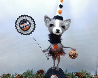 "Halloween Chihuahua needle felted wool size 13-1/2"" tall vintage jello mold - Halloween Pixie True #1"