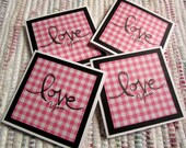 Mini Cards Pink Plaid Love You  Set of 4