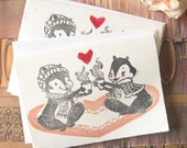 Linocut Greeting Cards, Chipmunks, Relationship Card, Friendship Card