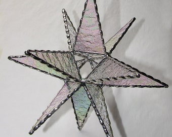 Stained Glass - Moravian Star Tree Topper, Iridescent Clear Textured Glass, Christmas Decoration
