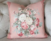 Vintage 1930s Dusty Pink and Cream with Aqua Florals Decorative Throw Pillow