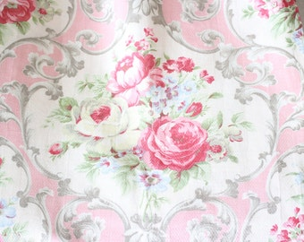 Sweet Cottage Chic Vintage Pink Cabbage Rose Drapery Panels