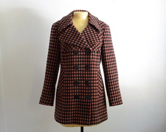 Vintage Double Breasted Check Plaid Wool Coat