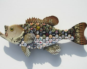 Metal Bottle Cap Wall Art - Large Mouth Bass
