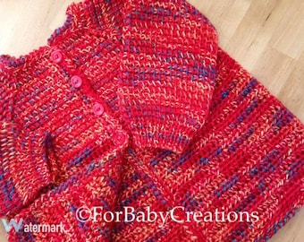Crochet Baby Sweater - Red Variegated - MADE TO ORDER - Handmade