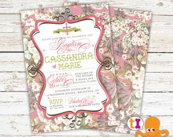 Shabby Chic, Baby Dedication, Baptism, or First Communion, Invitation with CROSS