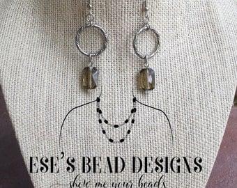 Smoky Quartz Swarovski Crystal Earrings