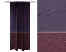 Curtain Color block natural linen drapery panel Violet Light purple & Eggplant curtains Blackout lining option