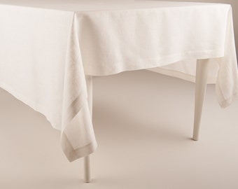 Amazing Rectangle Tablecloth Off White Linen Tablecloths Handmade With Deep Hems  Mitered Corners Classic Table Linen Collection