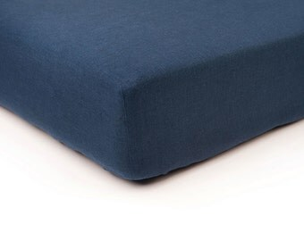Indigo linen fitted sheet, Queen bed sheets, King sheets, Double Full or Twin size fitted sheets, Indigo linen bedding