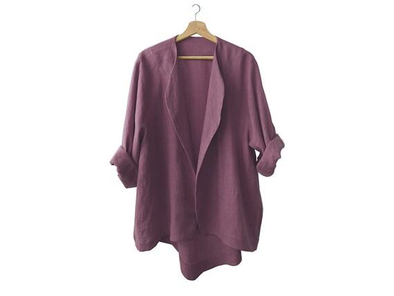 Soft linen jacket, Eggplant jacket for women, Linen womens clothing, LHI Wear, Linen cardigan, Long linen coat, Long sleeves top