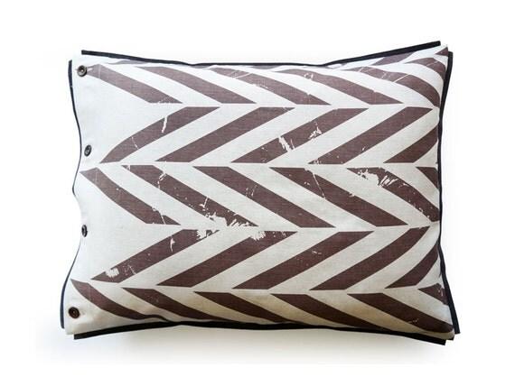 Printed pillowcase Brown ZIGZAG Queen pillowcases King pillow case Euro shams Linen cotton pillowcase