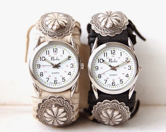 CWC-08, handmade adjustable cuff watch with repurposed vintage concho