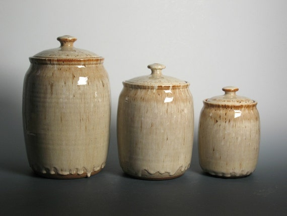 kitchen canister set stoneware pottery pottery kitchen canister set by brentsmithpottery on etsy
