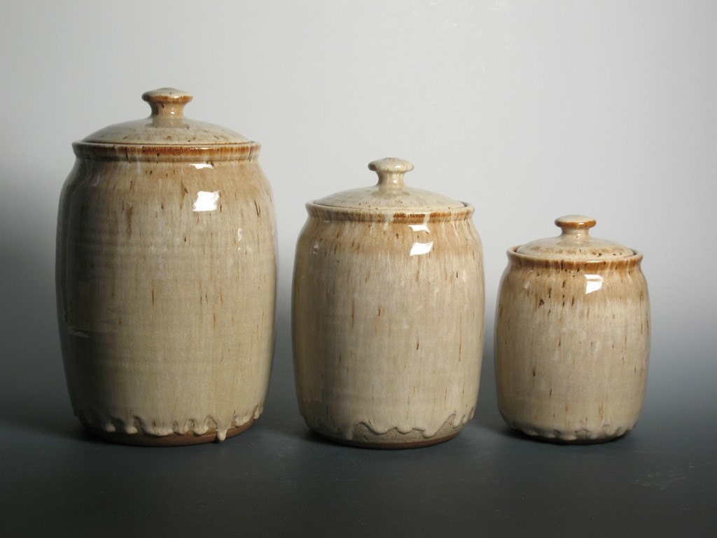 kitchen canister set stoneware pottery