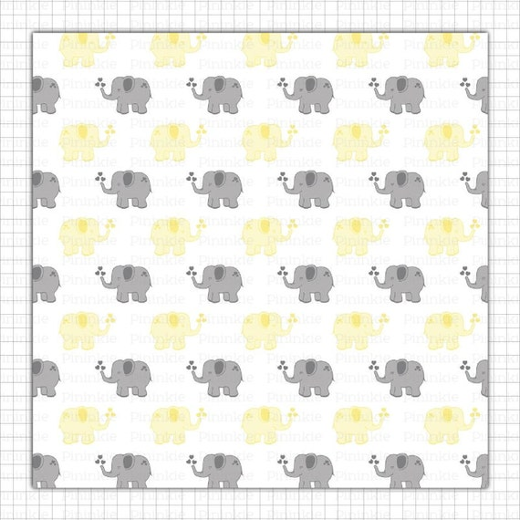 Yellow Elephant Digital Paper, Gender Neutral Baby Shower ...